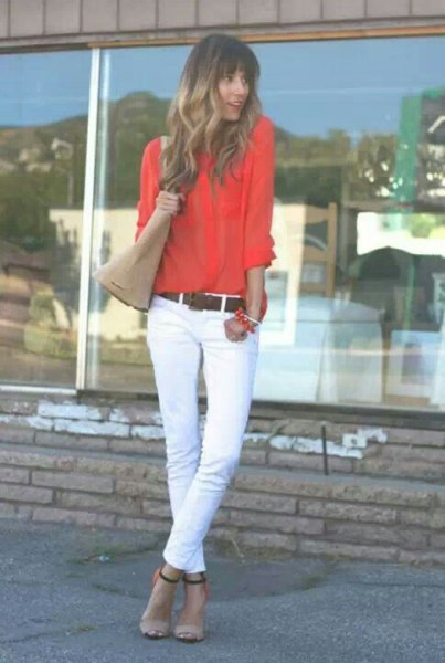 carol button up shirt with white skinny jeans