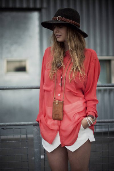 carol oversized button up shirt with white skort