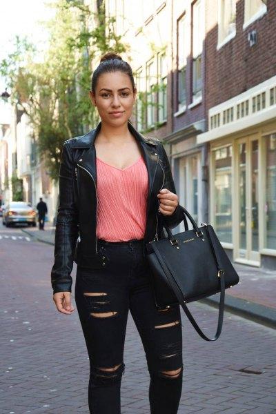 carol pleated blouse with black leather jacket