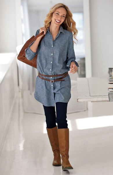 chambray button up belted tunic blouse with brown leather knee high boots