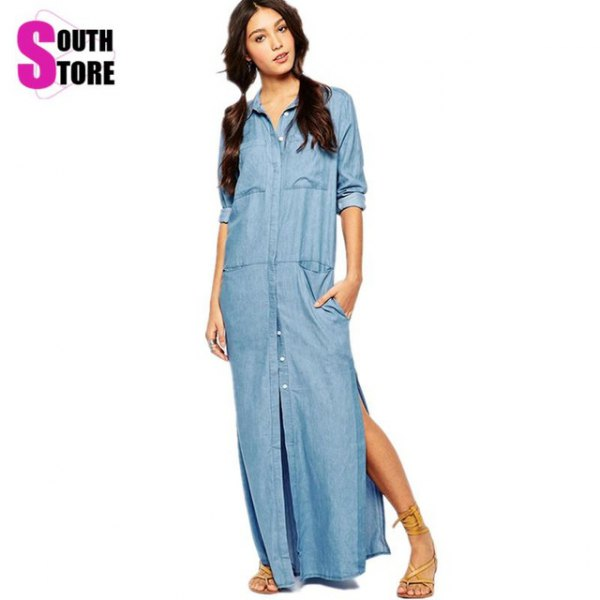 chambray maxi side slit shirt dress with gold sandals