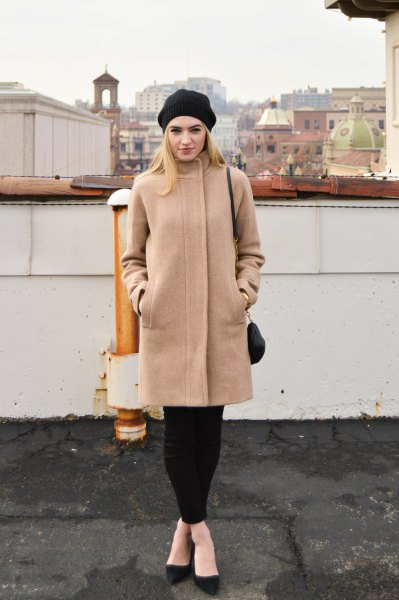 crepe cocoon coat with black leggings and ballet flats