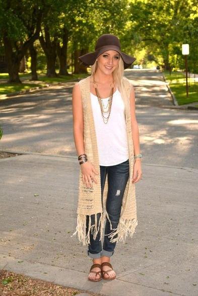 crepe longline crochet knit vest with cuffed skinny jeans