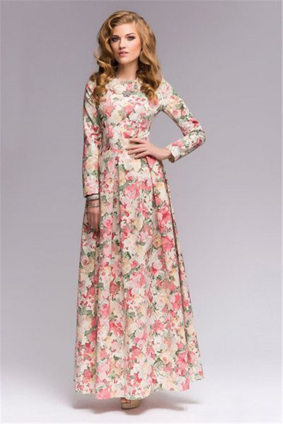 floral printed floor length sheath dress