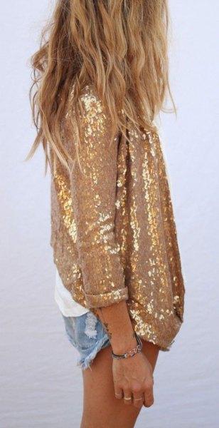 gold sequin oversized shirt with mini denim shorts