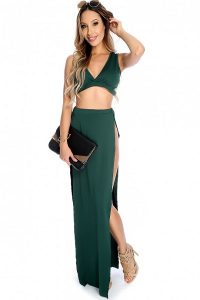 green deep v neck two piece side slit maxi dress