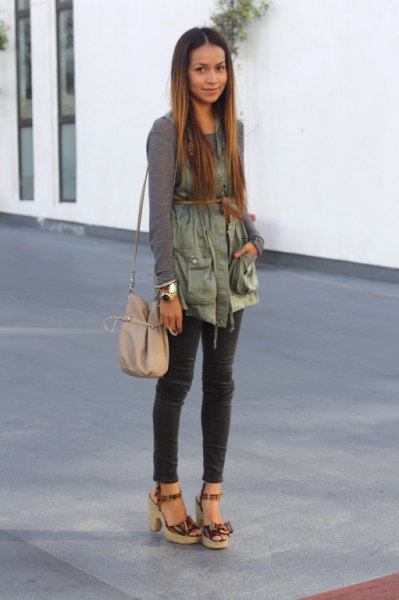 green long sleeve tee with green belted military vest