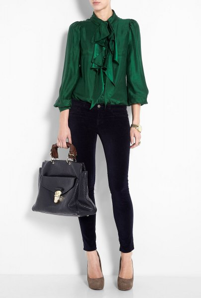 green ruffle bow blouse with black ankle skinny jeans