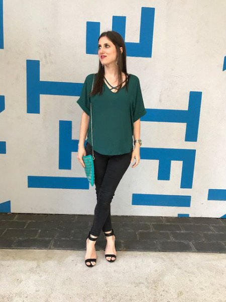 green short sleeve chiffon blouse with black chinos