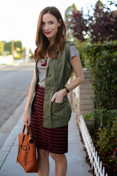 grey and black striped knee length skirt with military vest