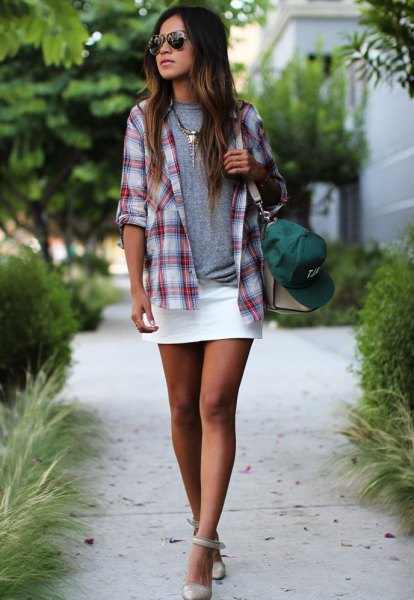 grey and white plaid boyfriend shirt with mini skirt