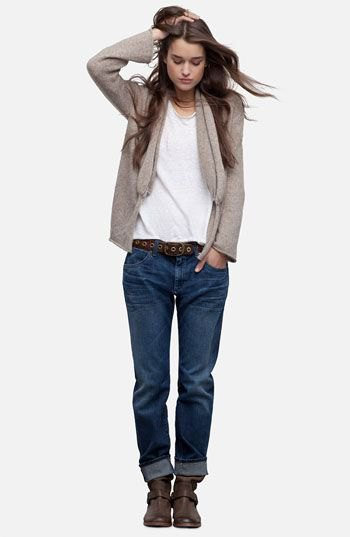 grey cardigan jacket with white tee and dark blue loose fit jeans