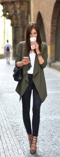 grey draped blazer with white top and dark blue skinny jeans