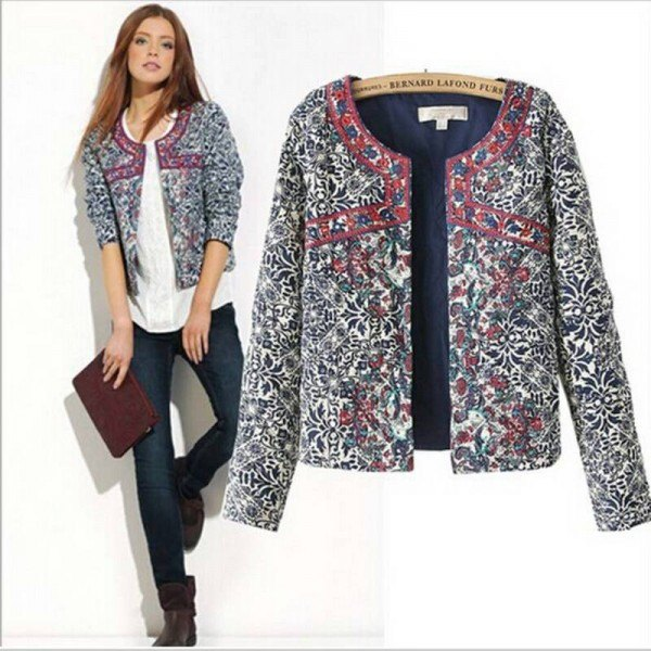 grey printed shirt jacket with white blouse and dark jeans