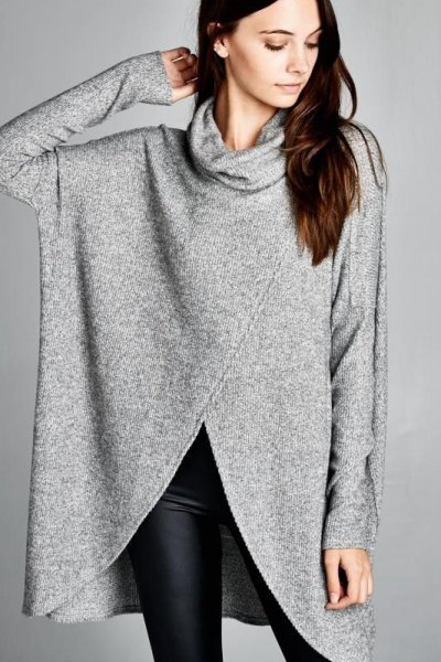 grey turtleneck tunic sweater with black skinny leggings