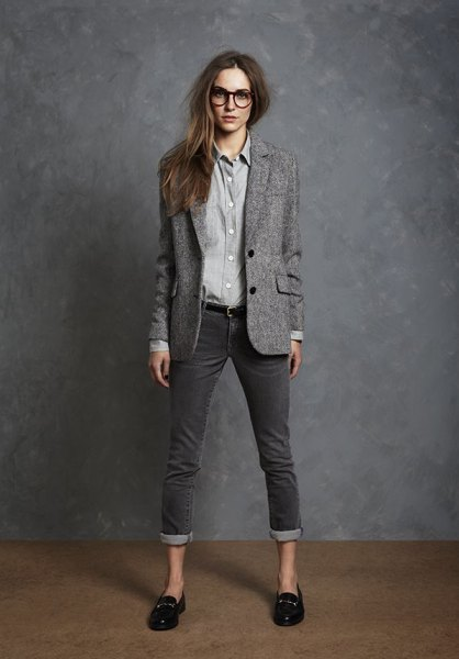 grey wool blazer with chambray shirt and cuffed jeans