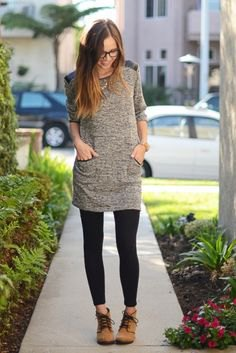 heather grey extra long tunic top with black leggings