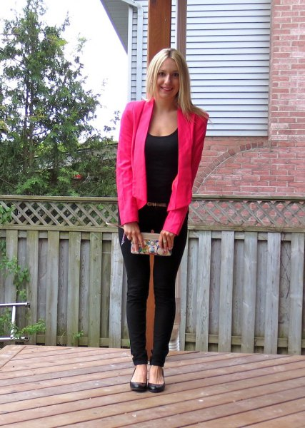hot pink blazer with all black outfit
