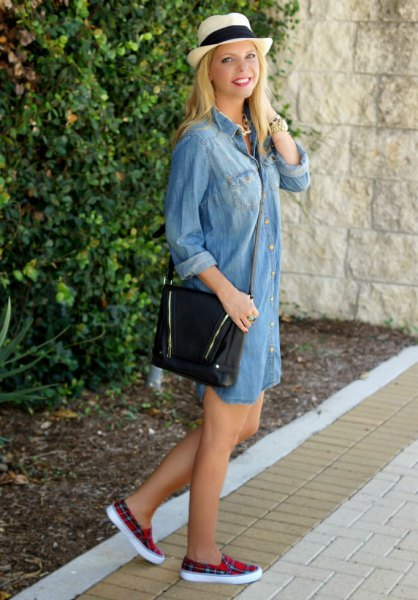 light blue chambray shirt dress with black and red plaid canvas shoes