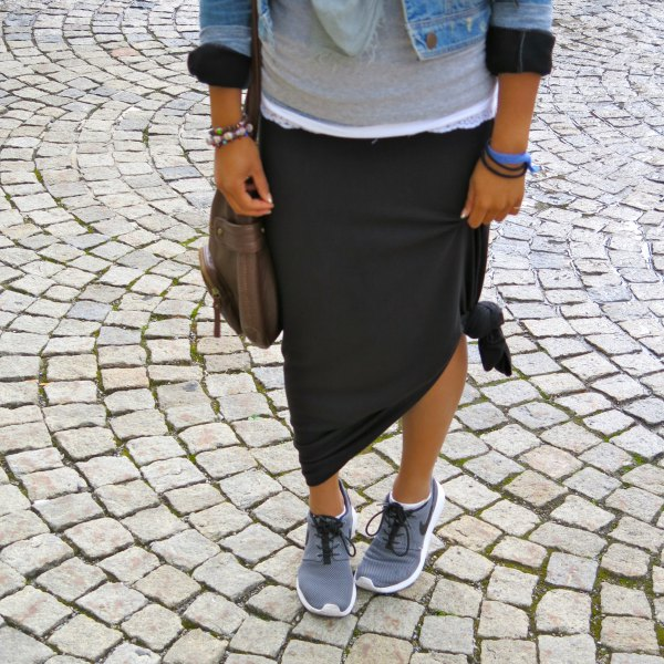 light blue denim jacket with black knotted maxi travel skirt