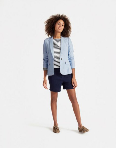 light blue linen blazer with navy and white striped tee