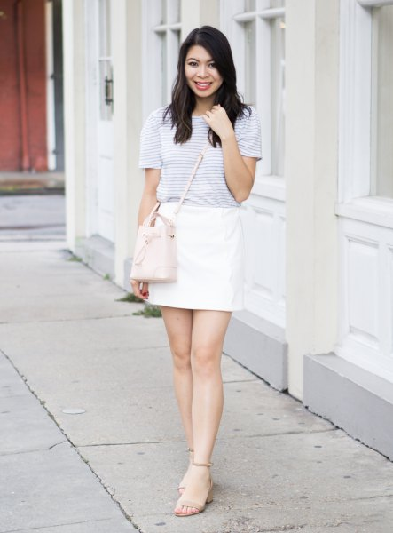 light grey striped t shirt with white mini skirt
