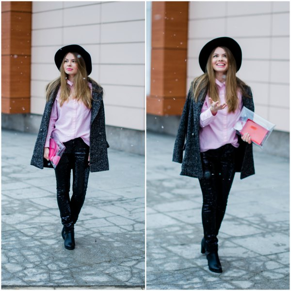 light pink button up shirt with black velvet jacket and felt hat