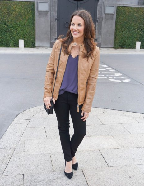 light tank jacket with lake green blouse and ballet flats