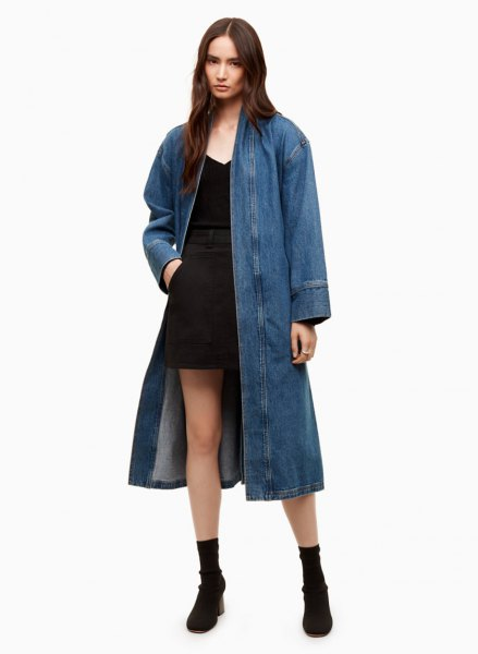 longline denim blazer with black mini shift dress
