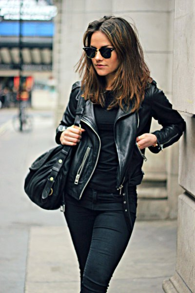 moto jacket with all black outfit