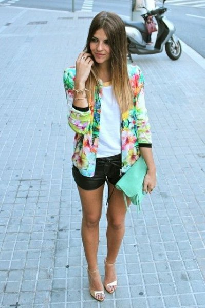 multi colored blazer with white top and black mini leather shorts