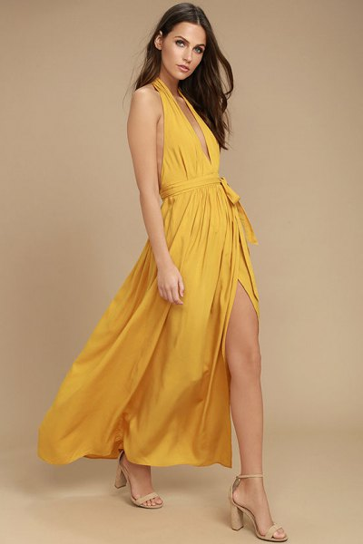 mustard deep v neck halter neck high split maxi flared dress