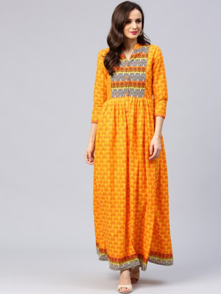 mustard three quarter sleeve tribal printed maxi dress