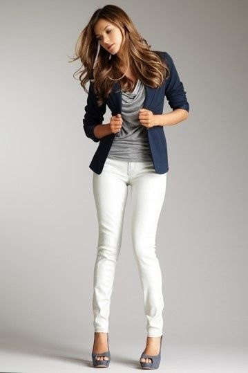 navy blue blazer with grey cowl neck top and white skinny jeans