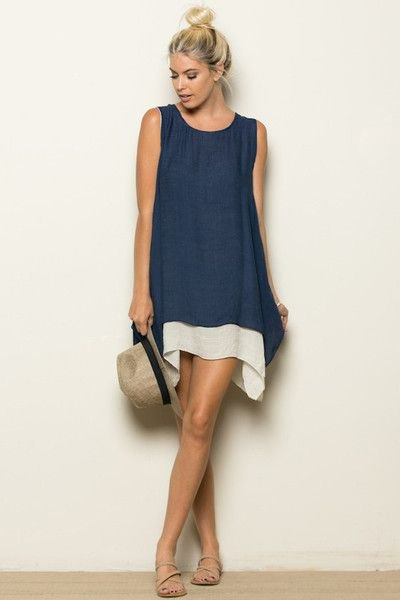 navy blue tunic tank top over white mini shift dress