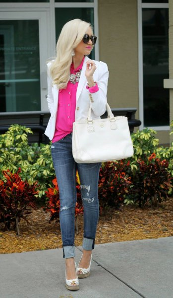 neon pink button up shirt with white blazer