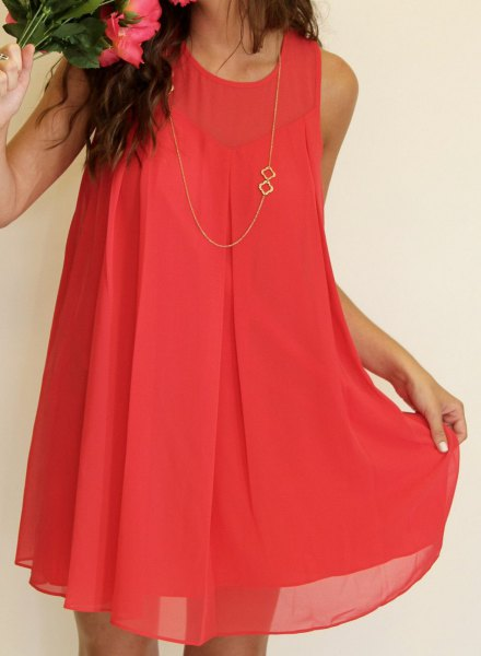 neon pink carol chiffon mini shift cocktail dress