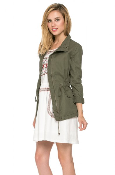 olive jacket with white tribal printed mini shift dress