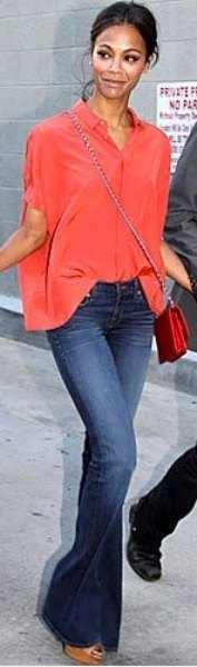 oversized carol button up shirt with flared jeans