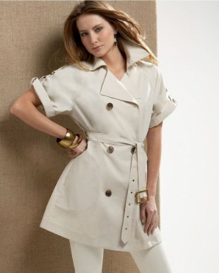 pale pink belted short sleeve trench coat with matching skinny pants