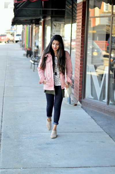 pale pink jacket with grey unbuttoned boyfriend shirt and white print tee
