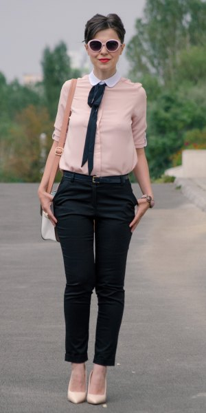 pale pink round white collar blouse with black cropped chinos