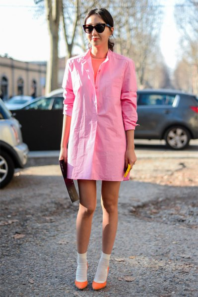 pale pink shirt dress with crew socks and blush flats