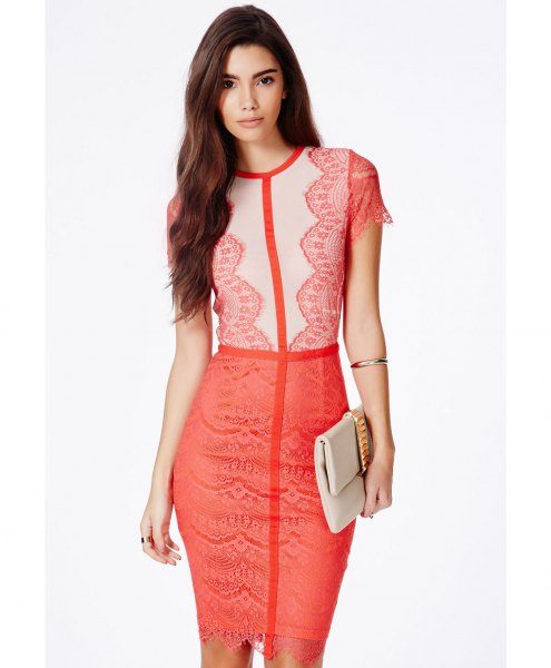 pale yellow and pink two colored lace mini lace dress