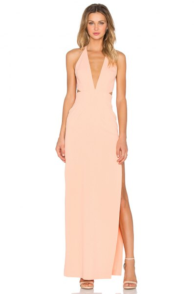 peach deep v neck halter neck sheath high split long dress