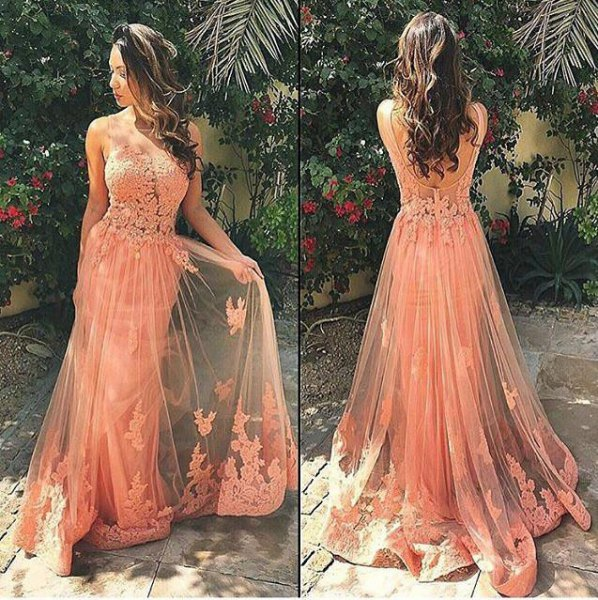 peach lace and chiffon floor length long flared dress
