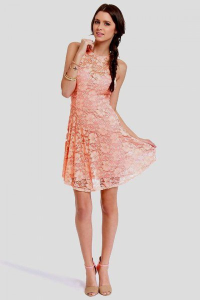 peach sleeveless relaxed fit breezy dress