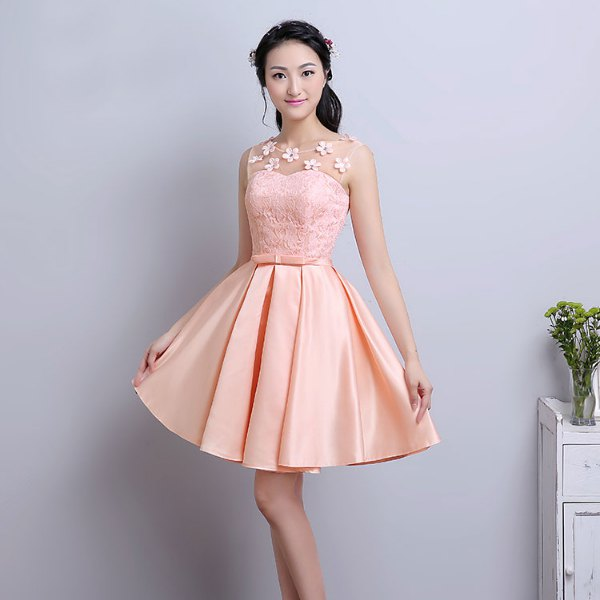 peach two toned fit and flare lace and silk knee length dress
