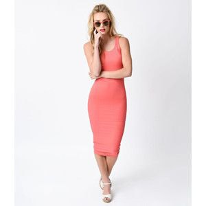 pink carol tank midi bodycon cocktail dress with white heels