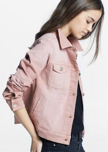 pink denim jacket with black tee and matching skinny jeans